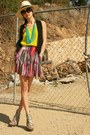 Ivory-h-m-hat-maroon-forever21-skirt-chartreuse-club-monaco-top-black-club