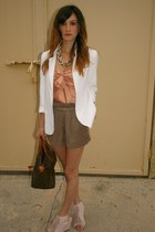 white Urban Outfitters blazer - brown Louis Vuitton purse - light brown Forever