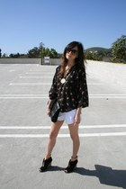 Barneys bag - Saint Grace shorts - Ray Ban sunglasses - cameo blouse - Zara wedg