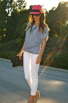 Just Usa jeans - H&M hat - Junior Drake purse - Jimmy Choo wedges - Zara top