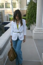 light blue Hudson jeans - white Urban Outfitters blazer - light brown Rebecca Mi