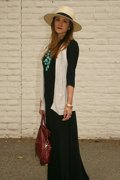 Topshop dress - H&M hat - foley & corinna purse - Old Navy vest - H&M necklace