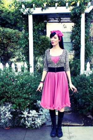 black black doc martens boots - black black vintage slip dress - bubble gum pink
