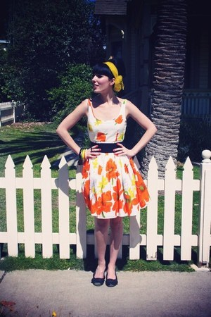 carrot orange RoadkillRanch dress - yellow silk thrifted vintage scarf - chartre