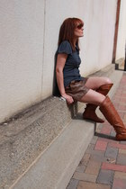 tawny Charlotte Russe boots - navy polka dot Style & Co shirt