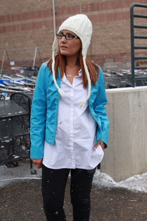 sky blue leather thrifted jacket - black Old Navy jeans