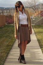 light brown mullet high low rue21 skirt - camel Avalin jacket - white Cabi shirt