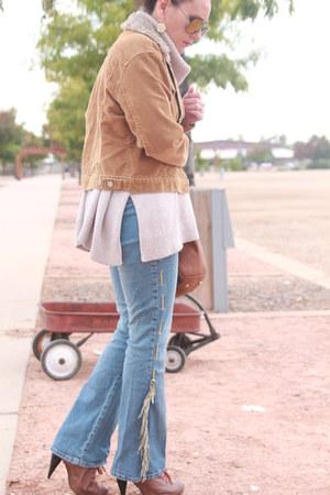 tawny Charlotte Russe shoes - navy fringed flared vintage jeans