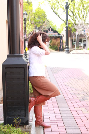 tawny vintage boots - white thrifted shirt - tawny culottes thrifted pants