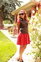 dark brown leather Forever 21 vest - red Old Navy dress