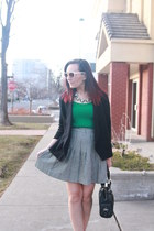 black thrifted blazer - green thrifted shirt - black Bebe bag