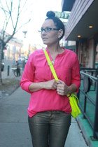 yellow thrifted bag - gold Mango jeans - hot pink sheer Old Navy shirt