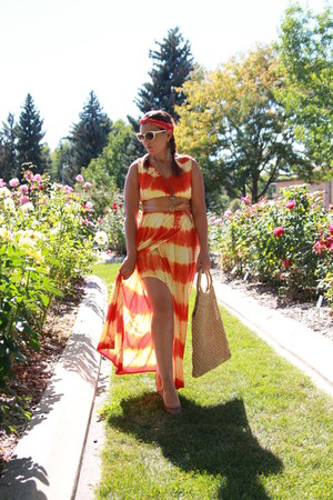 carrot orange tye dye maxi thrifted dress - red polka dot vintage scarf