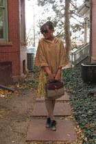 camel kohls socks - yellow pear printed eShakti dress