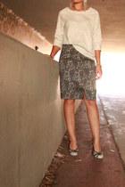 black thrifted skirt - heather gray sweatshirt kohls sweater