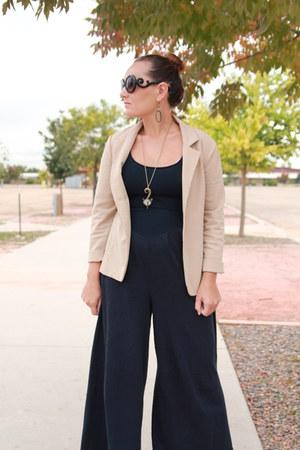 navy vintage jumper - beige thrifted blazer