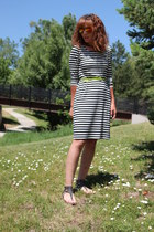 white striped Old Navy dress - black Target sandals