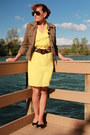 Yellow-gianni-bini-dress-olive-green-military-lucky-jacket