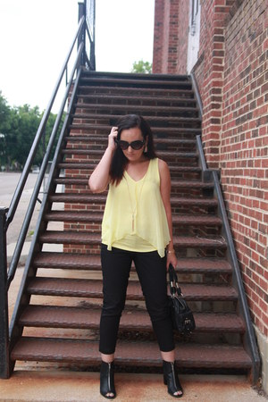 black kohls boots - light yellow kohls shirt - black Bebe bag