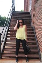 black kohls boots - light yellow kohls shirt - black Bebe bag