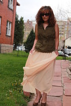 peach maxi shear vintage dress - army green military Old Navy vest