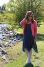 Navy-polka-dot-vintage-dress-white-kohls-tights-hot-pink-thrifted-cardigan
