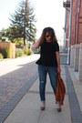 Navy-distressed-kohls-jeans-tawny-leather-target-jacket-black-h-m-shirt
