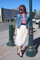 cream tulle Ebay skirt - navy denim Lee jacket