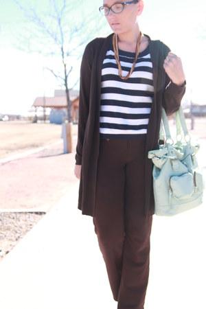 dark brown duster Walmart cardigan - navy striped banana republic sweater