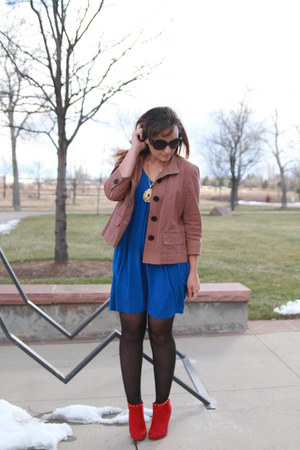 red Target boots - blue rue21 dress - brick red plaid thrifted blazer