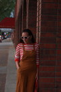 Red-striped-jones-new-york-shirt-red-thrifted-bag-tawny-old-navy-heels
