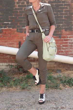 black leather Target jacket - lime green Target bag