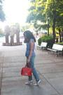 Navy-boyfriend-h-m-jeans-black-striped-peplum-kohls-shirt-red-thrifted-bag