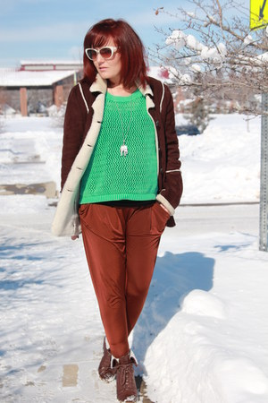 maroon harem Ebay pants - dark brown Mossimo boots - brown suede kohls coat