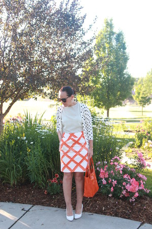 aquamarine thrifted shirt - orange thrifted bag - white Charlotte Russe heels