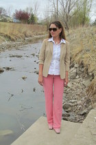 coral BCBG pants - neutral khaki blazer thrifted blazer