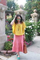 tawny thrifted bag - mustard Old Navy shirt - coral maxi tiered thrifted skirt