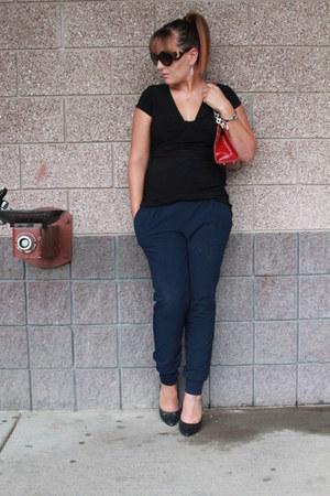 black elle shirt - crimson Prada bag - black glitter Target heels