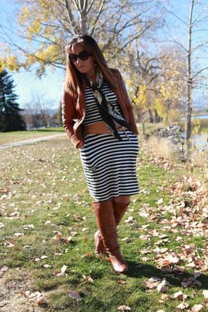 white striped Target dress - tawny otk Charlotte Russe boots