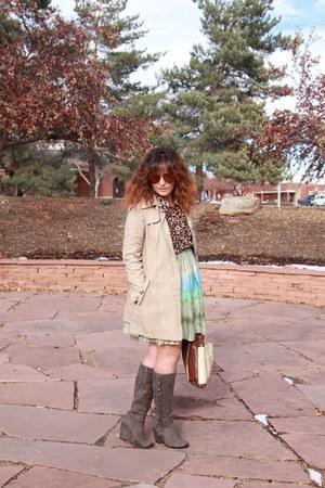 beige trench DKNY coat - heather gray kohls boots - tawny Forever 21 shirt