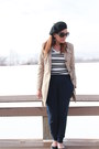 Beige-trench-dkny-coat-black-beret-thrifted-hat-white-striped-target-shirt
