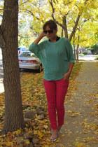 hot pink skinny Target jeans - aquamarine Target sweater