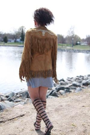 tawny leather fringe vintage coat - heather gray thrifted dress