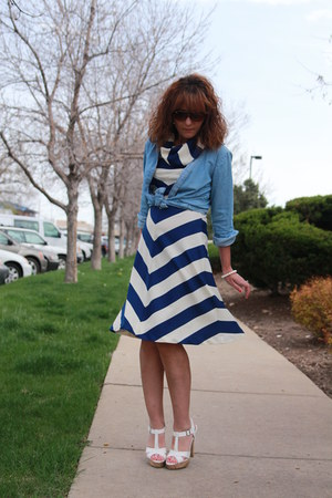navy striped vintage dress - sky blue chambray Lee shirt - white Payless sandals
