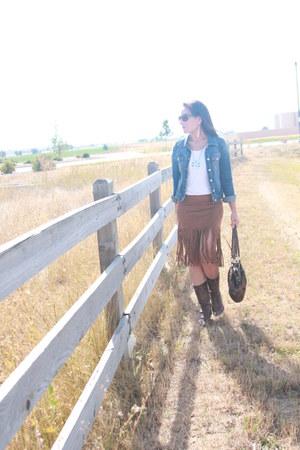 navy denim Old Navy jacket - dark brown cowboy vintage boots