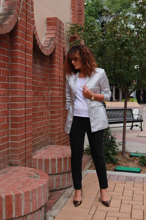 white kohls shirt - black Old Navy jeans - silver thrifted blazer