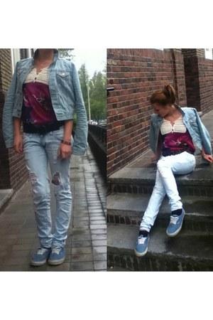 turquoise blue cotton Vanz store shoes - light blue denim Zara jeans - sky blue