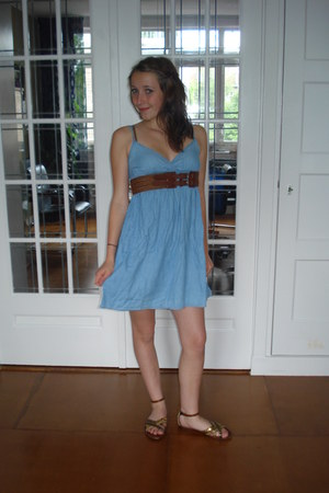 denim H&M dress - leather Zara belt - leather Sacha sandals