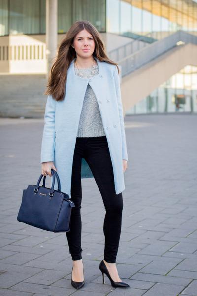 sky blue Zara coat - heather gray H&M sweater - navy Michael Kors bag