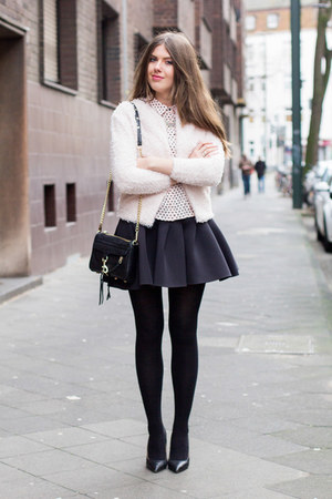 light pink H&M shirt - black Rebecca Minkoff bag - black H&M skirt